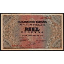 Espagne - Pick 115 - 1'000 pesetas - 1938 - Série A - Etat : TTB+