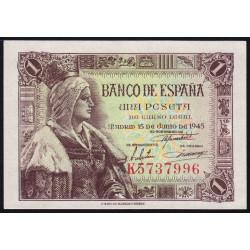 Espagne - Pick 128 - 1 peseta - 1945 - Série K - Etat : NEUF