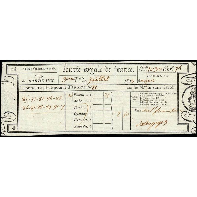 1823 - Bordeaux - Loterie Royale de France - 2 francs 50 centimes - Etat : SUP