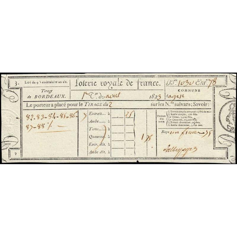 1823 - Bordeaux - Loterie Royale de France - 1 franc 75 centimes - Etat : SUP