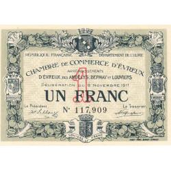 Evreux (Eure) - Pirot 57-12 - 1 franc - 1917 - Etat : SPL