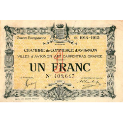 Avignon - Pirot 18-5b - 1 franc - 1915 - Etat : TTB
