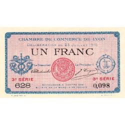 Lyon - Pirot 77-10-3 - 1 franc - Etat : SUP+